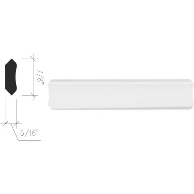 Inteplast Building Products 5/16 In. x 7/8 In. x 8 Ft. Crystal White Polystyrene Inside Corner Molding