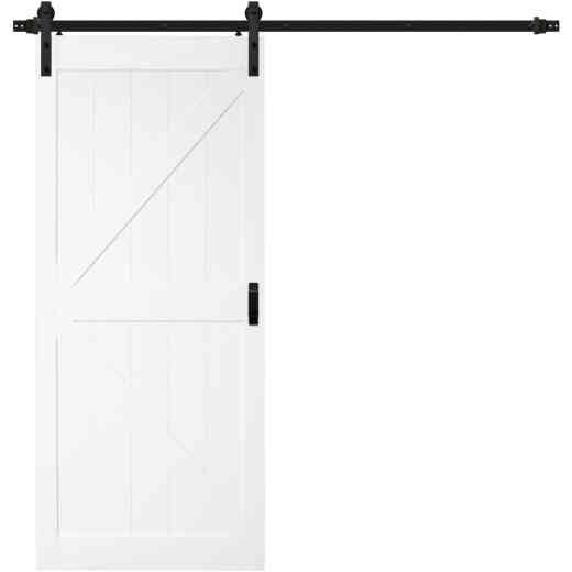 Renin Stone 36 In. W x 84 In. H Easy-Build K-Style White Textured Wood Barn Door