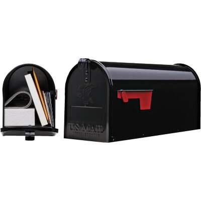 Gibraltar Elite Series T1 Black Steel Rural Post Mount Mailbox