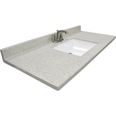 Modular Vanity Tops 49 In. W x 22 In. D Dune Cultured Marble Vanity Top with Rectangular Wave Bowl