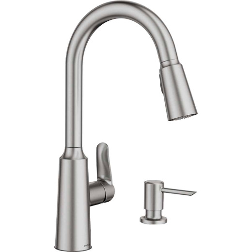 Moen Edwyn Single Handle Lever Pull-Down Kitchen Faucet with Soap Dispenser, Stainless