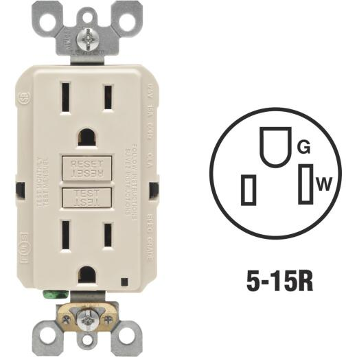 Leviton SmartlockPro Self-Test 15A Light Almond Residential Grade Rounded Corner 5-15R GFCI Outlet