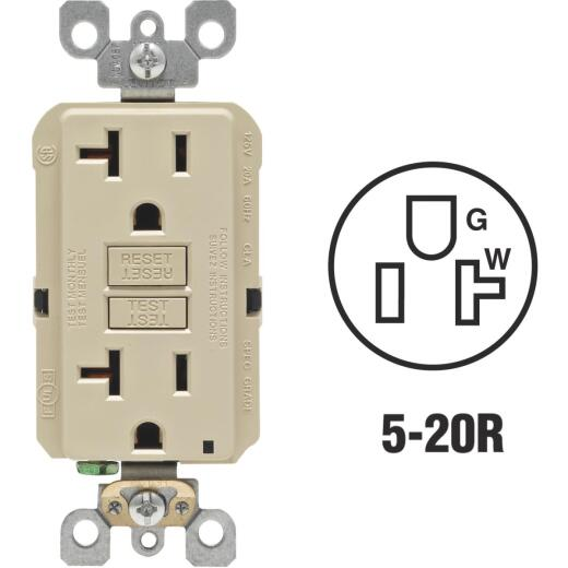 Leviton SmartlockPro Self-Test 20A Ivory Commercial Grade Rounded Corner 5-20R GFCI Outlet
